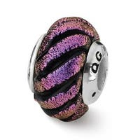 Sterling Silver Reflections Purple Swirl Dichroic Glass Bead (4mm Diameter Hole)
