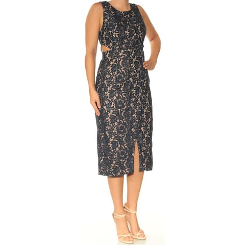 FAME AND PARTNERS Womens Navy Cut Out Slitted Sleeveless Jewel Neck Tea Length Sheath Evening Dress Size: 6