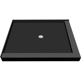 """Tile Redi P4872CDR-PVC  Redi Base 72"""" X 48"""" Corner Shower Pan with Double Curb and 2"""" Center Drain - Polished Chrome"""