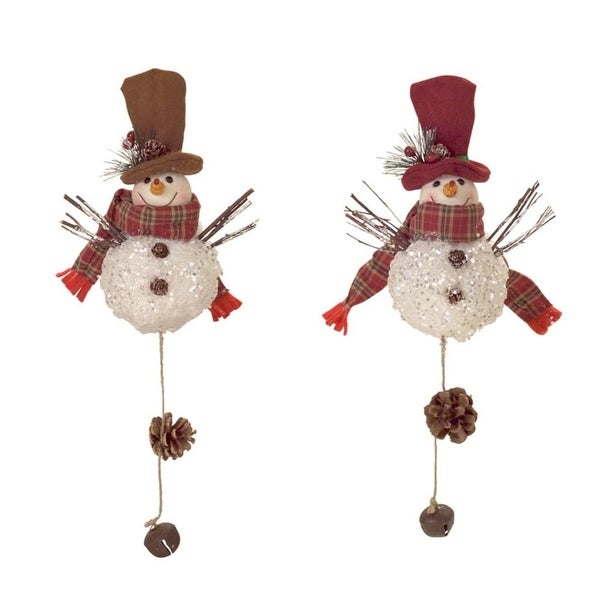 Pack of 12 Red and Brown Rustic Smiling Snowman Christmas Door Hangers 16""