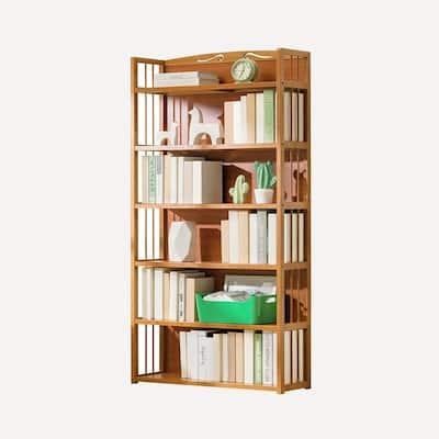 6 Tier Bamboo Free Standing Bookshelf