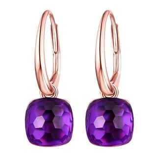 Vedantti Mini Honeycomb Cut Purple Amethyst Gemstone Violet Guard Leverback Earring