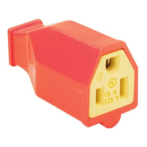 Pass & Seymour SA993OCC10 Straight Blade Connector, 2 Pole, 3 Wire, Orange