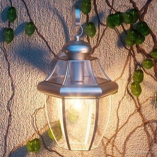 "Luxury Colonial Outdoor Wall Light, 14""H x 8""W, with Tudor Style, Versatile Design, Aged Silver Finish"
