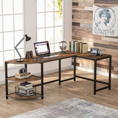 74 inch L-Shaped Desk with 3-Tier Reversible Corner Shelf