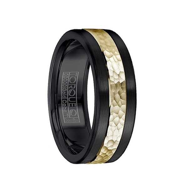 Hammered 14k Yellow Gold Inlaid Black Cobalt Men's Wedding Ring by Crown Ring - 7.5mm