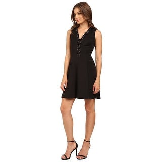 Jessica Simpson Sleeveless Lace-Up Scuba Fit & Flare Dress