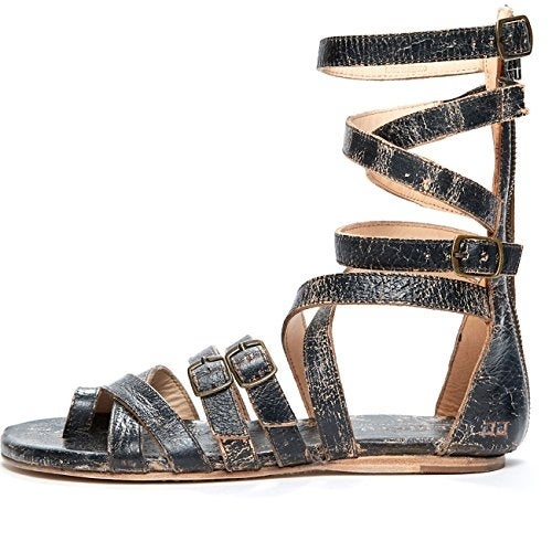 BedStu Women's Seneca Gladiator Sandal, Black Lux, 6 M US