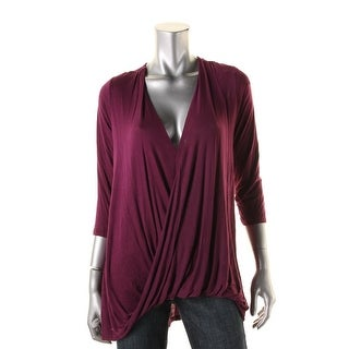 All At Once Womens Surplice Three-Quarter Sleeves Pullover Top