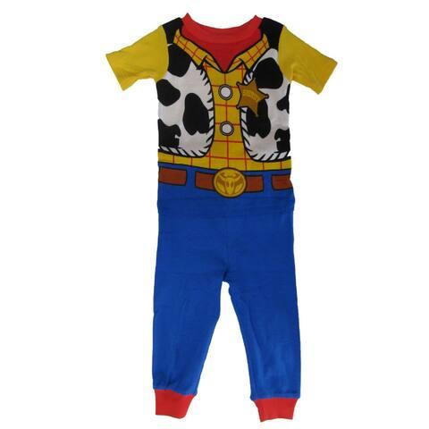 Disney Little Boys Yellow Blue Toy Story Woody Print 2 Pc Pajama Set