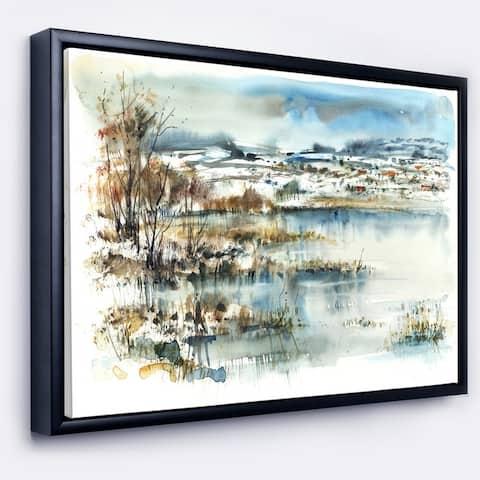 Designart 'Wide Blue Winter Lake Watercolor' Landscape Framed Canvas Print