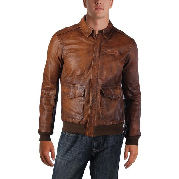 6b30d6836 Shop Polo Ralph Lauren Mens Bomber Jacket Cow Leather Long Sleeves ...