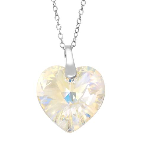 Crystaluxe Heart Pendant with Aurora Borealis Swarovski Crystal in Sterling Silver - White