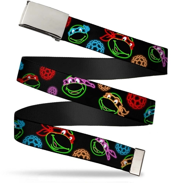 """Blank Chrome 1.0"""" Buckle Classic Tmnt Electric Expressions Turtle Shells Web Belt 1.0"""" Wide - S"""