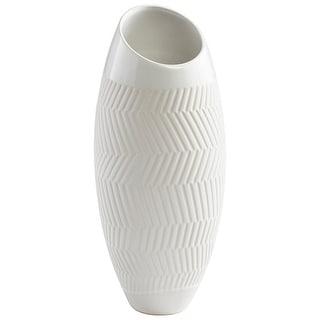 "Cyan Design 08742  Chevron 6"" Diameter Ceramic Vase - White Glaze"