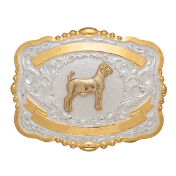 Crumrine Western Belt Buckle Womens Rectangle Goat Gold White M
