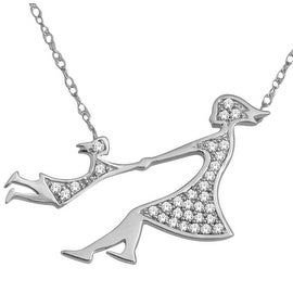 Mom and Child Pendant and Necklace Set 10K White Gold 1/10cttw Diamonds