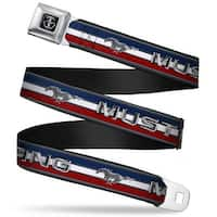 Ford Mustang Tri Bar Logo Full Color Black White Silver Red Blue Mustang Seatbelt Belt