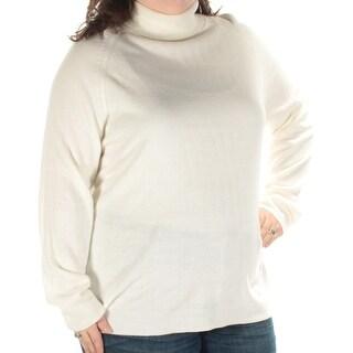 KAREN SCOTT $19 Womens New 1058 Ivory Sheer Long Sleeve Sweater 2X Plus B+B