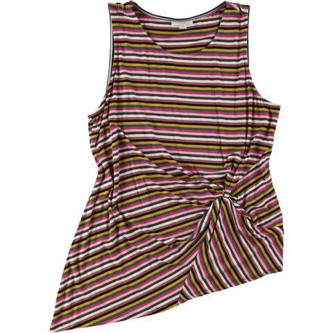 bar III Womens Mixed Print Knot Sleeveless Blouse Top, Multicoloured, X-Large