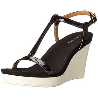 Calvin Klein Womens Jiselle Padded Insole Colorblocked Wedge Sandals - 8.5 medium (b,m)