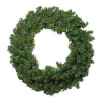"""24"""" Battery Operated Canadian Pine LED Artificial Christmas Wreath - Multi Lights"""