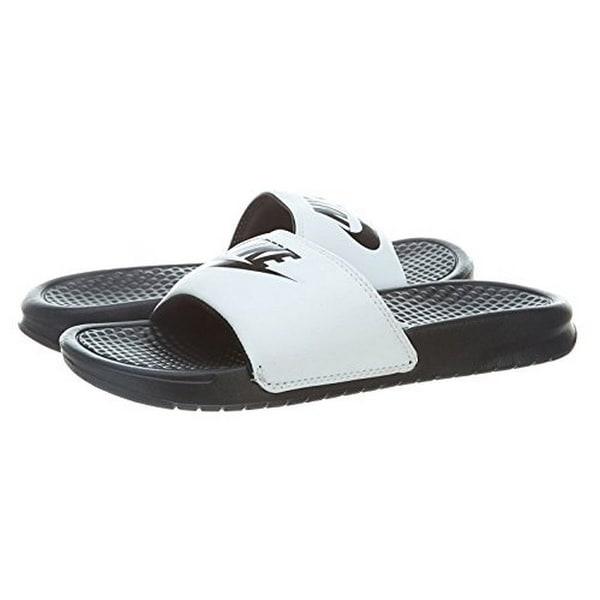 Nike Men's Benassi Jdi Slide Sandal (13, White/Black-Black)