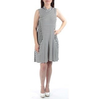 TRIXXI New 1107 Ivory Striped Pocketed Turtle Neck Shift Dress Juniors S BB