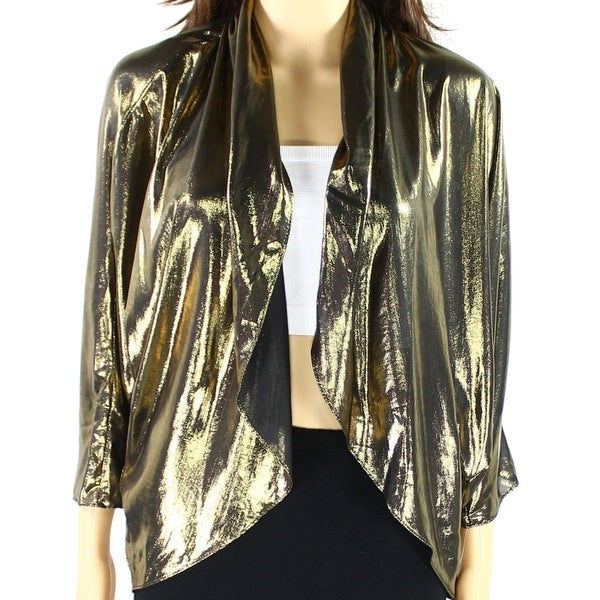 3c0f57d672b1c Shop MSK NEW Metallic Gold Black Women s Size XL Draped Shrug Jacket - Free  Shipping On Orders Over  45 - Overstock - 17379988