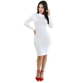 Long Sleeve Turtle Neck Bodycon Midi Dress (White)
