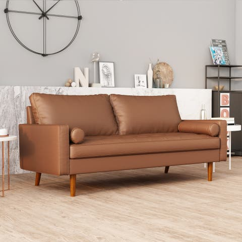 Wide Upholstered Sofa with Square Arms and Toss Pillow, Brown