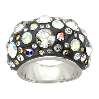 Crystaluxe Black Resin Dome Ring with Swarovski Crystals in Sterling Silver - Multi-Color