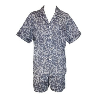 Majestic International Men's Cotton Paisley Print Short Pajama Set - navy paisley