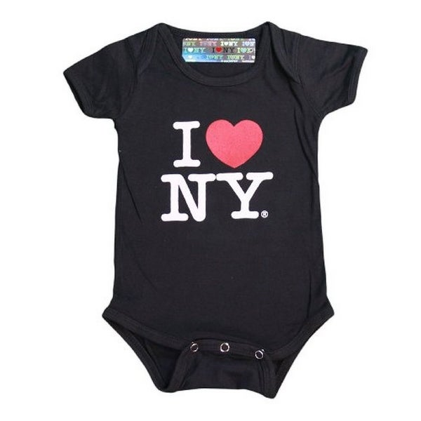 I Love NY New York Baby Infant Screen Printed Heart Bodysuit Black Large 18 M...