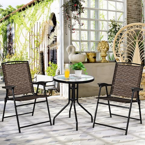 3PC Bistro Set Patio Furniture Garden Round Table and Folding Chairs