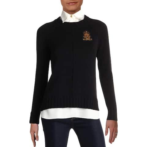 Lauren Ralph Lauren Womens Gristin Sweater Layered Applique