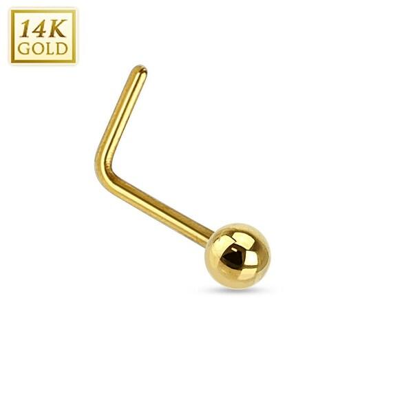 """14Kt Gold Solid Ball L Bend Nose Ring  - 20GA - 1/4"""" Length (Sold Ind.)"""