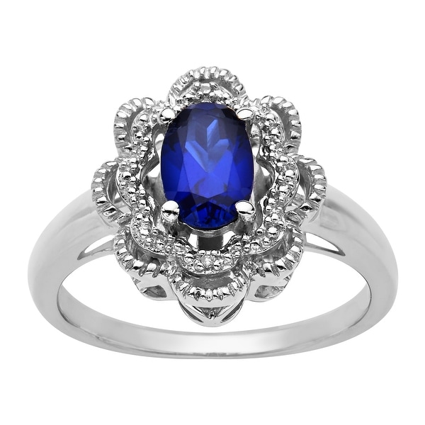 Sapphire Ring with Diamond in Sterling Silver - Blue