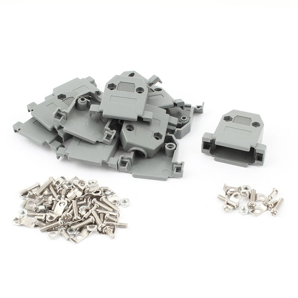 Unique Bargains 10 x Gray Plastic Shell Cover Housing Protector Replacements for DB15 Connectors