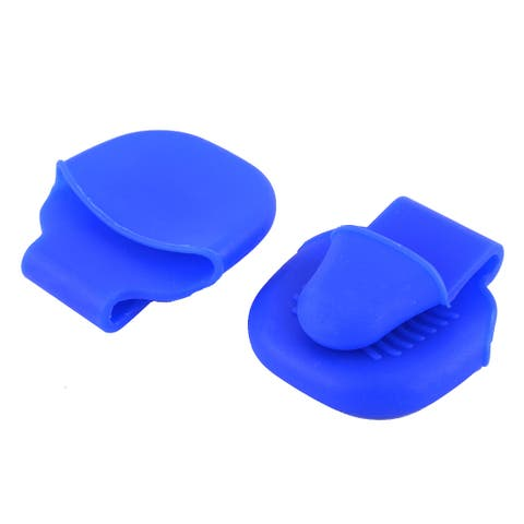 Silicone Baking Heat Resistant Insulated Glove Pot Dish Clip Blue 2PCS