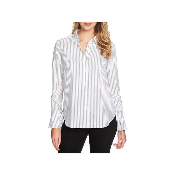 baf85142aec0a0 Shop 1.State Womens Button-Down Top Striped Wrap Sleeve - On Sale ...