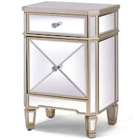 Costway Modern Mirrored Nightstand Storage Accent Cabinet Table Chest Drawer - champagne