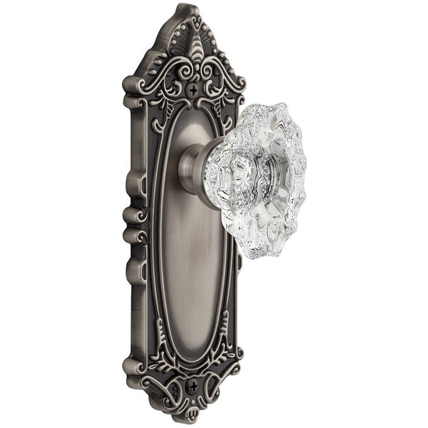 "Grandeur GVCBIA_PSG_238 Grande Victorian Solid Brass Rose Passage Door Knob Set with Biarritz Crystal Knob and 2-3/8"" Backset"