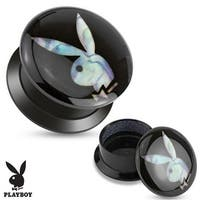 Mother of Pearl Playboy Bunny Inaly Black Acrylic Screw Fit Stash Plug (Sold Individually)