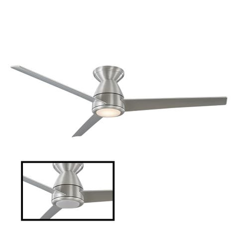 Tip Top Indoor and Outdoor 3-Blade Smart Flush Mount Ceiling Fan 52in with 3000K LED Light Kit and Remote Control