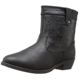 Kensie Girl Girls Cowboy, Western Boots Embossed Faux Leather
