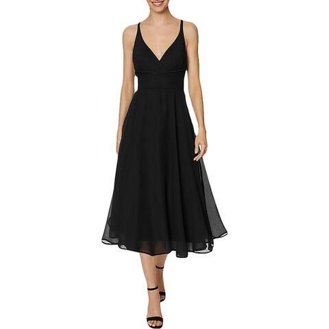Laundry by Shelli Segal Women's Chiffon Strappy Sleeveless A-Line Midi Dress - Black