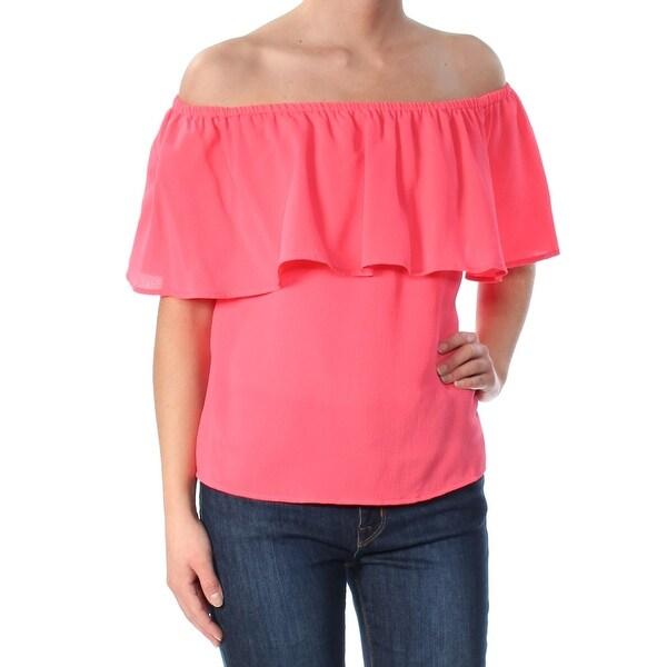BAR III Womens Pink Sleeveless Off Shoulder Top Size: XS