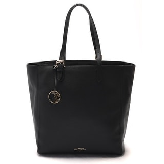 Versace Women Pebbled Leather Shopping Handbag Satchel Black - M