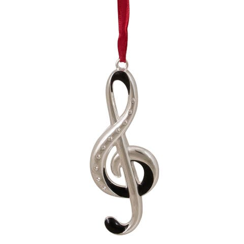 """4"""" Silver and Red Clef Music Note European Crystals Christmas Ornament"""